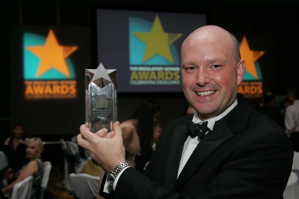 Jonathan Trethowan at the inaugural awards in 2009, winning the Inspiration Award