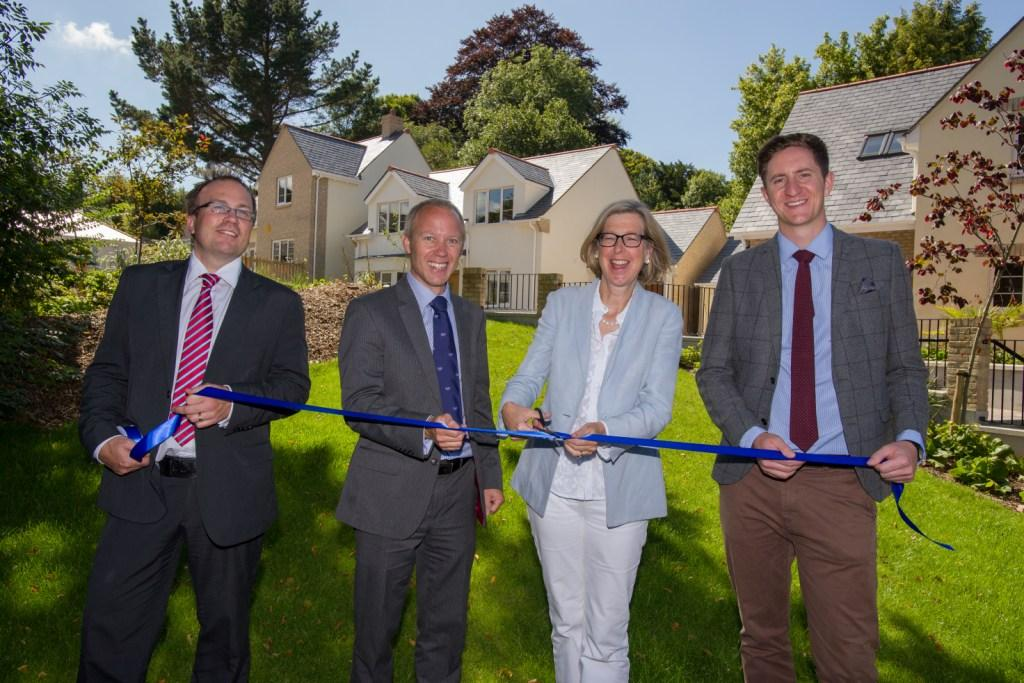 L-R: Bill Richardson, Planning Manager (Blue Cedar Homes), Andrew Rowe (Blue Cedar Homes), Sarah Newton MP and Alex Taylor (Humberts) at the official opening of Lemon Gardens