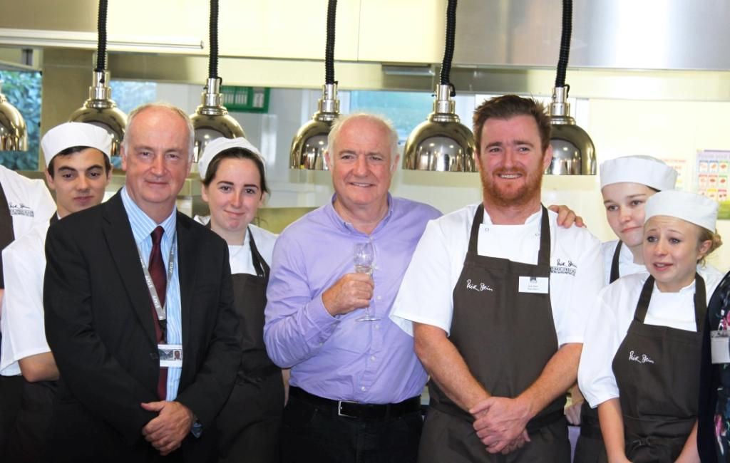 Rick Stein at the launch, along with some of the first cohort of students to go through the Academy, Jack Stein and College Principal David Walrond