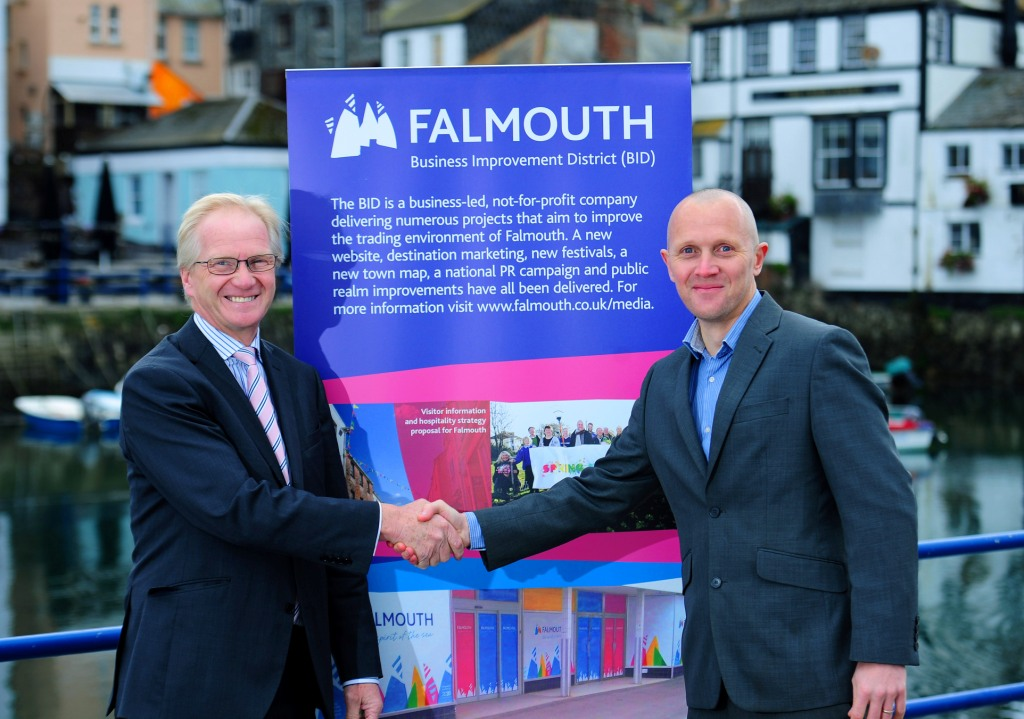 Falmouth BID manager, Richard Wilcox (r) welcomes new chairman, Richard Thomas