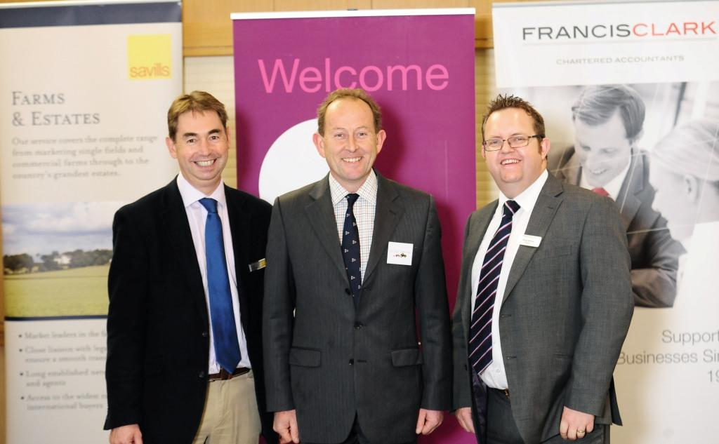 L-R: Savills director Adrian Matthews; Phil Reed, head of rural at Stephens Scown and Brian Harvey, head of agriculture at Francis Clark