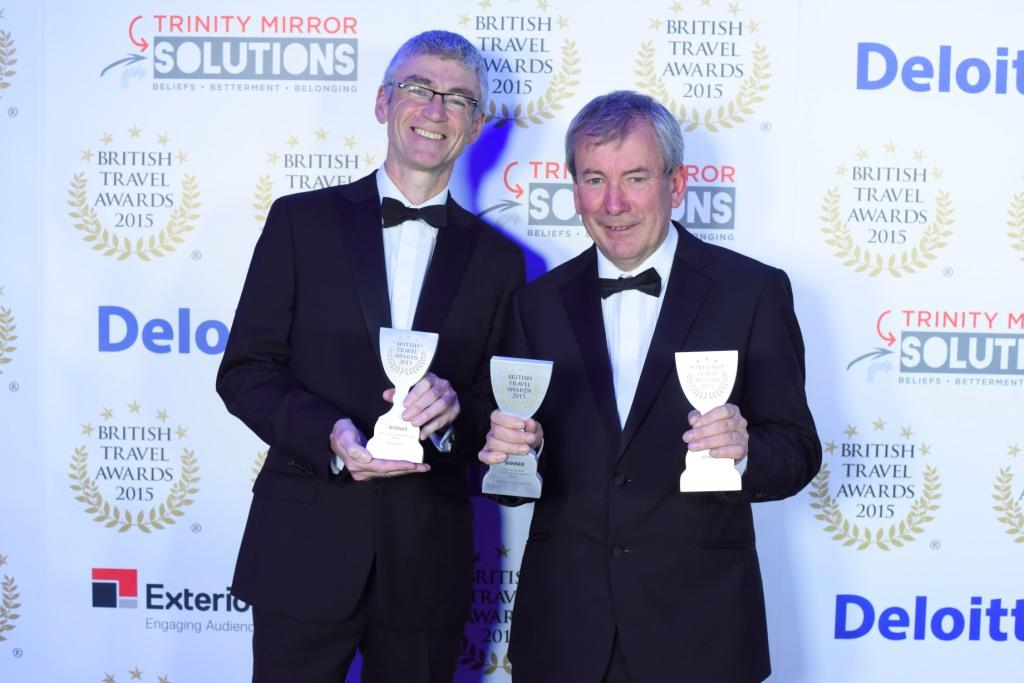 Eden director, Gordon Seabright (left) and Malcolm Bell celebrate Cornwall's triple gold win in the British Travel Awards 2015
