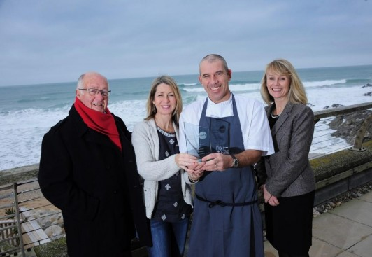 L to R: Graham Ashton, SWIG Finance mentor, Elise Harwood and Paul Harwood, The Fish House, Lisa Moore, SWIG Finance