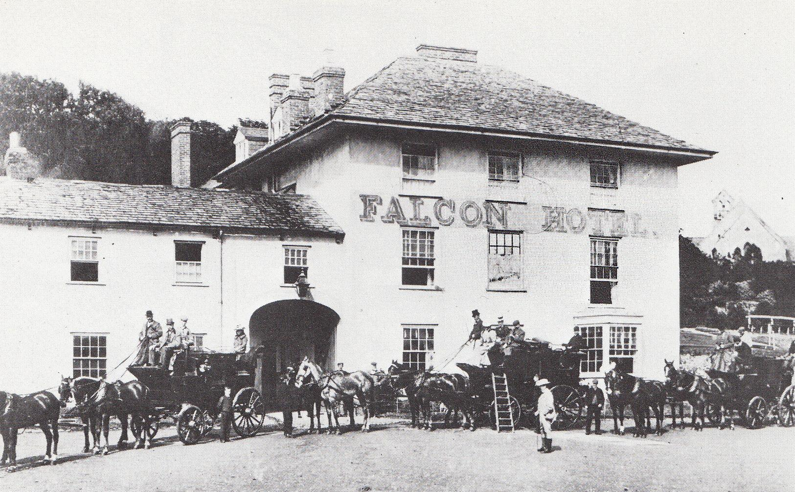 The Falcon Hotel circa 1895. George Brendon III, seeing off the family's four horse coaches to Clovelly, Tintagel and Boscastle