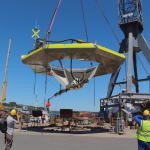 Seatricity Ltds Oceanus 2 being launched at A&P Shipyard in Falmouth – Credit David Stoddart-Scott