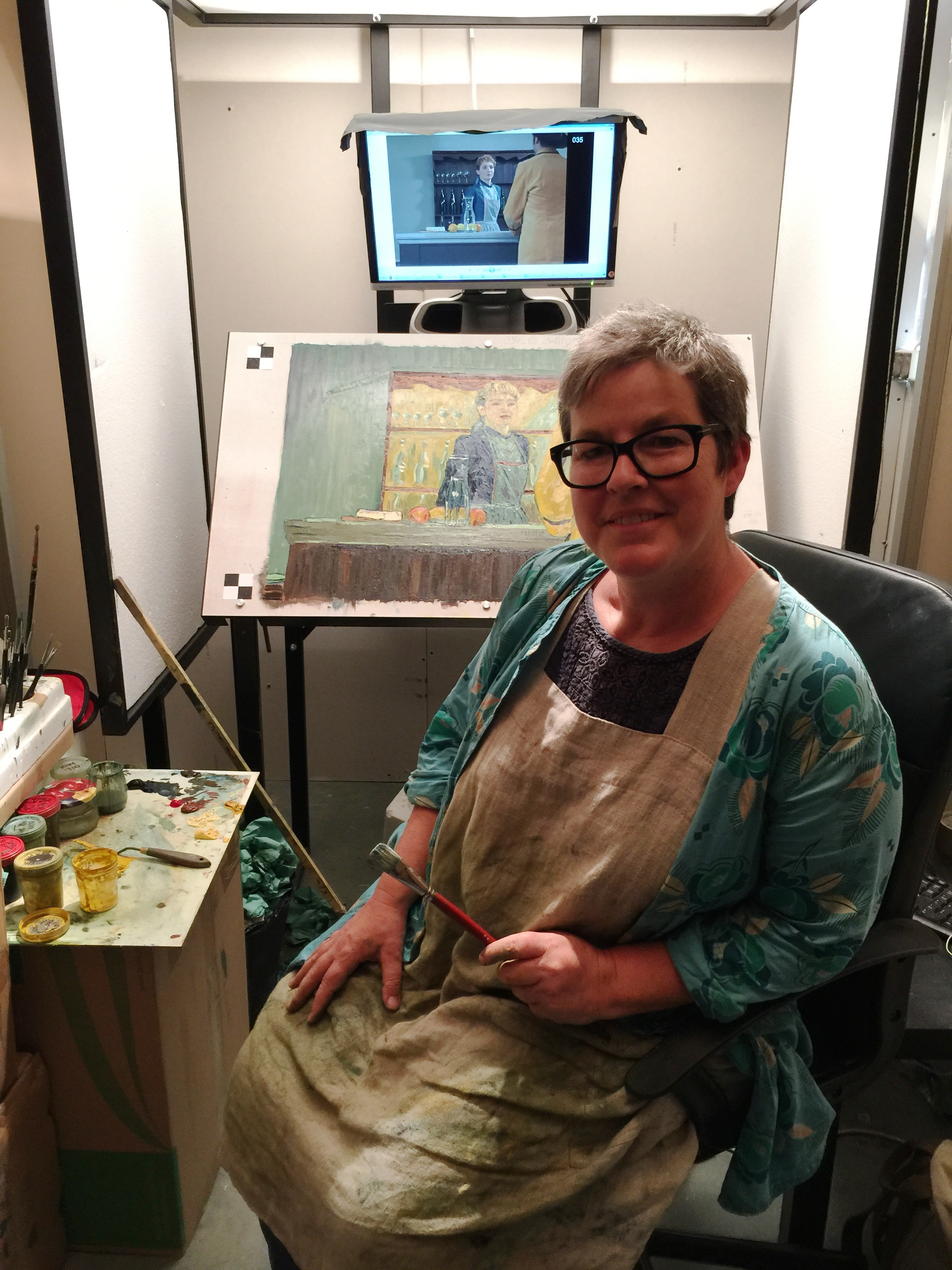 Sarah Wimperis working on Adeline Ravoux - IMG_0280