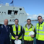 L-R: Gerald Pitts MD of A&P Falmouth, David Farmer head of commercially supported shipping DE&S, Robin Boulby – MARS team leader and Jonathan Green – A&P Group RFA Tide Class UKCCATS Programme Manager