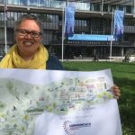 Caroline Robinson with the poster map