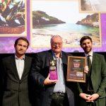 Dave Barnard receiving his Port Gaverne Best Pub in South West Award