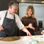 Culinary collaboration – Nadia Macer-Wright, co-managing director, Cornish Gems with Chef Ben Tunnicliffe. CREDIT: Cornish Gems/ElliottWhitePhotography