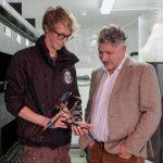 Chris Weston (L), Ben Tunnicliffe (R) at Newlyn Satellite Lobster Hatchery MR