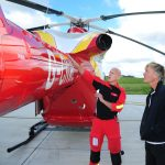 Richard being given an overview of the helicopter from paramedic, Mick