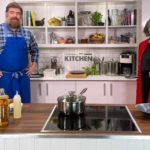 Daphne Skinnnard DL, trustee, with Nathan Outlaw in the studio kitchen72 (1)